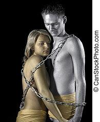 encadenado, metálico, pareja