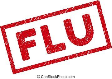 encadré, rectangle, cachet, grippe, timbre, détresse
