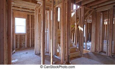 encadrement, construction, faisceau, nouvelle maison, maison, intérieur