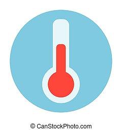 encadrer icône, isolé, circulaire, thermomètre