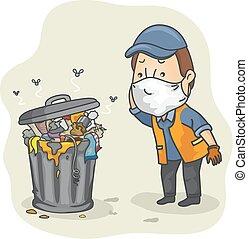 encaisseur, boîte, déchets, homme