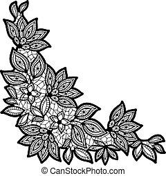 encaje, aislado, negro, white., diseño floral