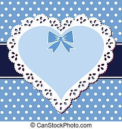 encaje, azul, corazón