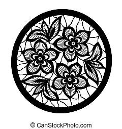 encaje, diseño, imitación, bordado, floral, flores, element.