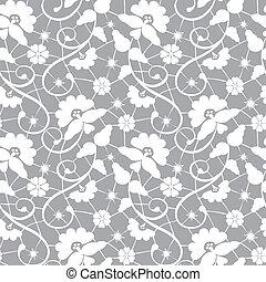 encaje, patrón, floral