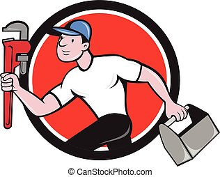 encanador, ajustável, executando, chave, toolbox, caricatura