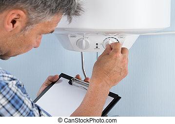 encanador, ajustar, elétrico, temperatura, caldeira