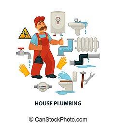 encanador, casa, promocional, quebrada, engenharia, cartaz, encanamento, sanitário