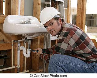 encanador, construção, trabalhando