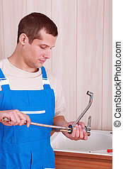 encanador, cozinha, torneira, ajustamento, pia
