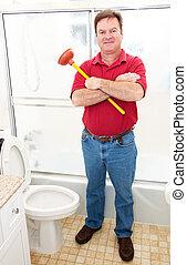 encanador, em, banheiro