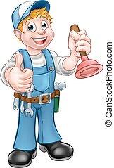 encanador,  handyman, caricatura, segurando,  plunger