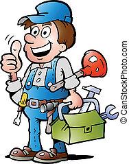 encanador, handyman, dar, polegar cima