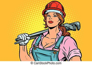 encanador, mulher, arte, estouro, chave, mecânico