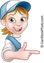 encanador, mulher, trabalhador, carpinteiro, mecânico, ou