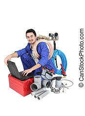 encanador, preparar, seu, equipamento, e, seu, laptop