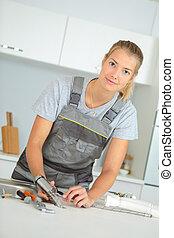 encanador, remende, pia, femininas, cozinha