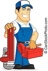 encanador, segurando, ferramentas