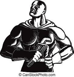 encanador, superhero, chave, woodcut