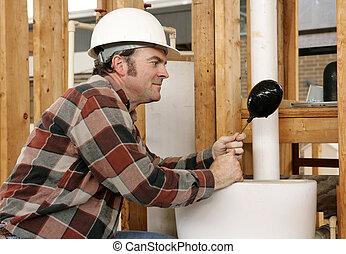 encanamento, banheiro, reparar