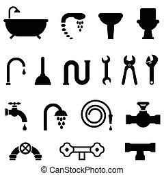 encanamento, e, banheiro, ícones