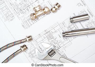 encanamento, e, desenhos, construção, vida