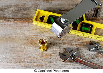 encanamento, e, ferramentas, mentindo, ligado, desenho, para, reparar