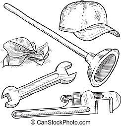 encanamento, esboço, objetos