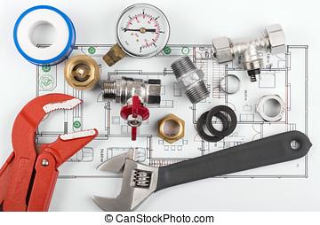 encanamento, ferramentas equipamento, ligado, blueprint