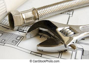 encanamento, ferramentas, ligado, casa, blueprint