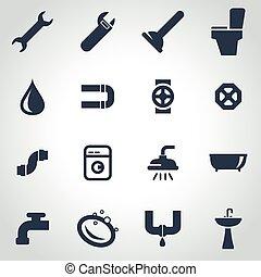 encanamento, jogo, pretas, vetorial, ícone