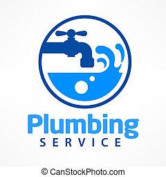 encanamento, logotipo, azul, serviço