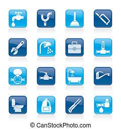 encanamento, objetos, e, ferramentas, ícones