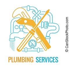 encanamento, serviços, ícone