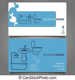 encanamento, serviços, cartão negócio