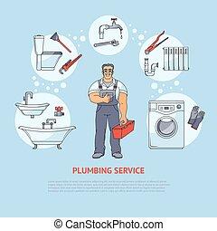 encanamento, serviços, infographics, desenho, cartaz