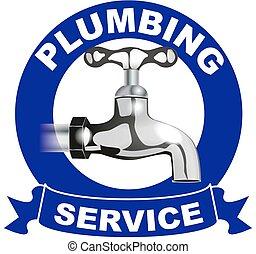 encanamento, serviços, logotipo