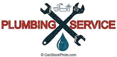 encanamento, serviços, símbolo, negócio