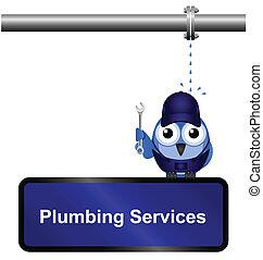 encanamento, sinal, serviços