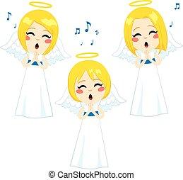 encantador, ángeles, canto
