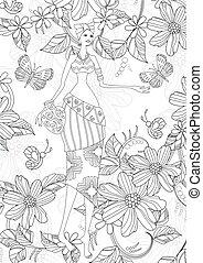 encantador, africano, niña, con, mariposas, y, flores, para, su, colori