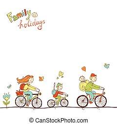 encantador, amigável, família duas crianças, viajando, por, bicicleta, um, fa