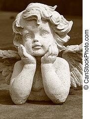 encantador, angelical, estátua, em, sepia