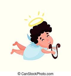 encantador, anjinho, menino, toque música, ligado, a, lyre, caricatura, vetorial, ilustração