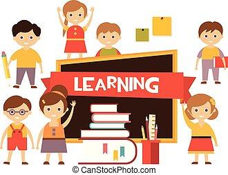 encantador, aprender, crianças, school., costas