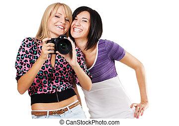 encantador, câmera, amigos, dois