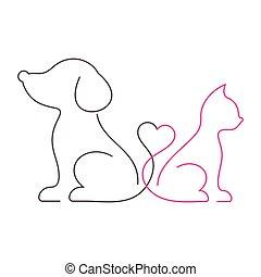 encantador, delgado, gato, línea, perro, iconos