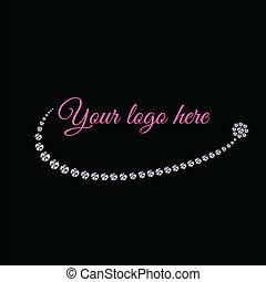 encantador, diamante, logotipo