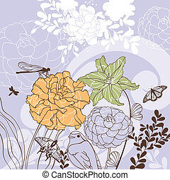 encantador, floral, cartão