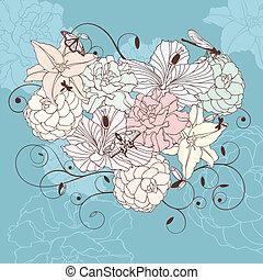 encantador, floral, coração